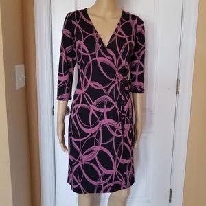 (S) Purple & Black Swirl Wrap Day Dress
